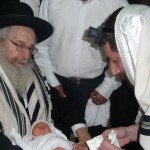 "Rav Baum in his capacity as mohel with the late Mir Rosh Yeshiva zt""l"